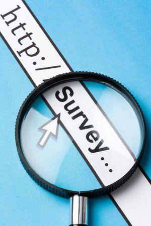 Computer Screen, concept of online survey Stock Photo
