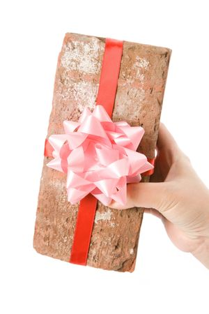 make a gift: Red Brick Gift, Concept of joke, make fun of somebody, gift on April Fools Day, Prank gift