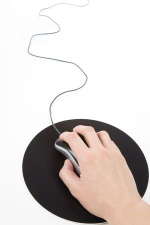 hand: Computer Mouse and pad, Concept of internet