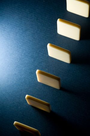 cause: Domino with blue background, Concept of Cause or Teamwork