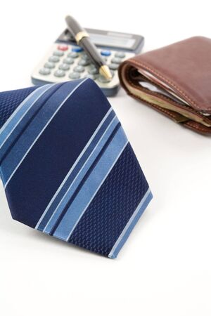 Blue Necktie ,Pen, calculator, wallet, Business object