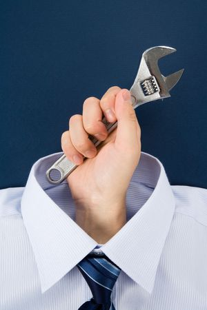 hand holding Wrench, Business Concept Imagens
