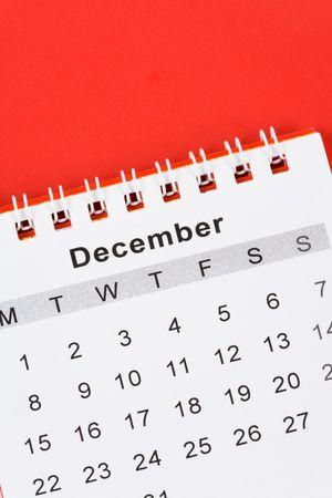 december kalender: Kalender december dichten met rode achtergrond