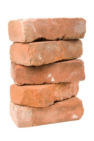 Red Brick with white background photo