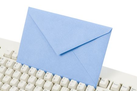 Envelope and computer keyboard, concept of email