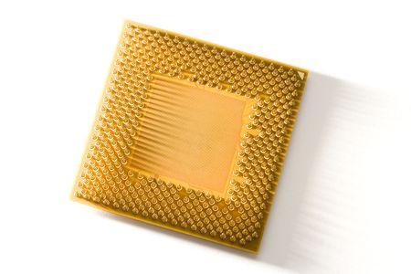 Golden Computer CPU close up shot