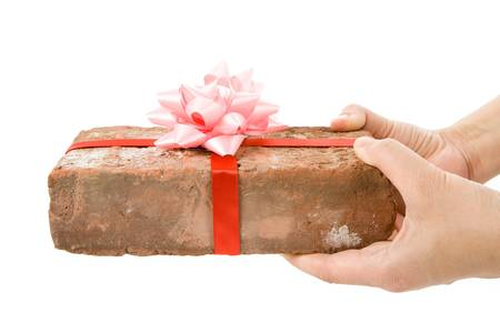 somebody: Red Brick Gift, Concept of joke, make fun of somebody, gift on April Fools Day, Prank gift