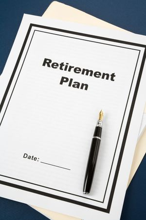 Retirement Plan and pen, business concept Stock Photo