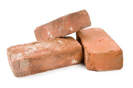 흰색 배경 가진 붉은 벽돌