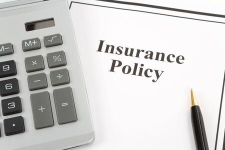 Document of Insurance Policy and calculator,  for background Stock fotó - 4982369