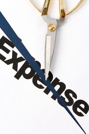 text of Expense and scissors, concept of Expense cut Foto de archivo