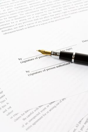 autograph: Business Contract and pen close up, sign a contract
