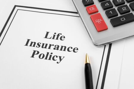 Document of Life Insurance Policy and calculator,  for background   photo