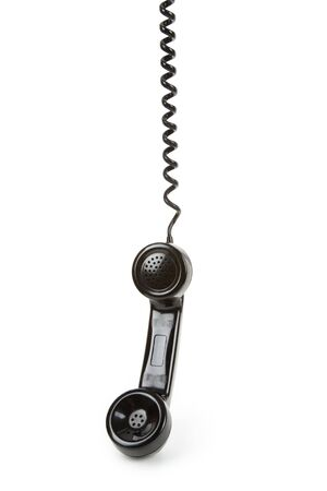 receiver: Black telephone Receiver with white background