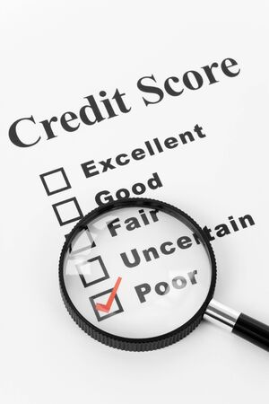 rated: Poor Credit Score, Business Concept for Background
