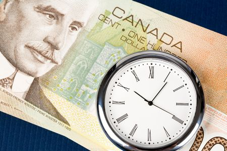 Time is Money, canadian dollar and clock photo
