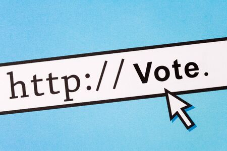 voting: Computer Screen, concept of online voting Stock Photo