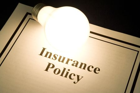 insurance policy and light bulb, concept of smart in business