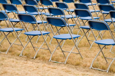folding chair: Folding Chair, open-air activity Stock Photo