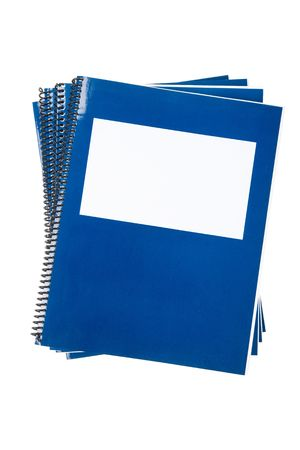 Blue school textbook, notebook or manual with white background photo