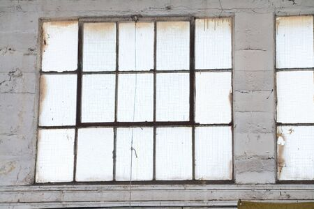 abandoned factory: Industrial Building window, close up Stock Photo