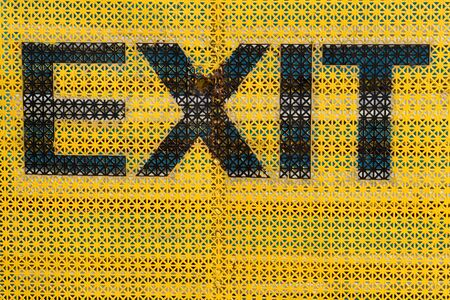 exit sign: Exit Sign with yellow background Stock Photo