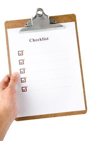 Checklist and Clipboard with white background Stock Photo - 5512981