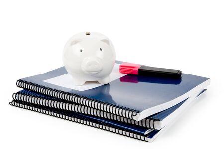 Blue Schulbuch und Sparschwein, education fund Standard-Bild - 5513090