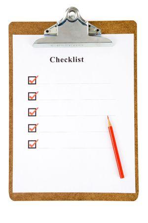 checklist: Checklist and Clipboard with white background