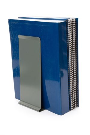 Blue school textbook, notebook or manual with white background
