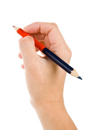 hand holding a red and blue pencil with white background
