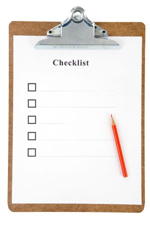 Checklist and Clipboard with white background Stock Photo - 5623092