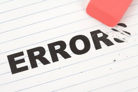 errors: eraser and word error, concept of  Stock Photo