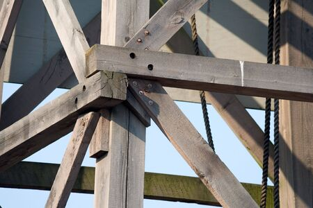 structure: wooden structure, tower close up