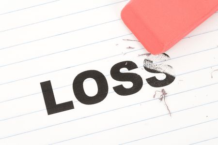 deleting: eraser and word loss, concept of Reduce financial loss Stock Photo