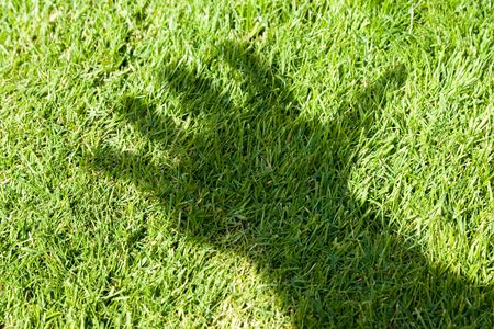 Green Grass and hand shadow, concept of environment destruction