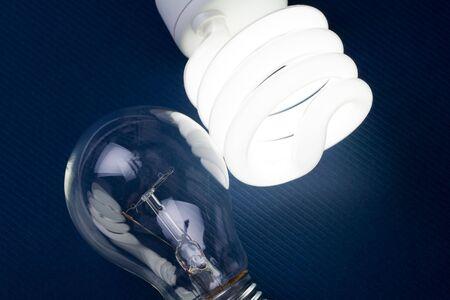 fluorescent light: Compact Fluorescent Light bulb and tungsten Light bulb
