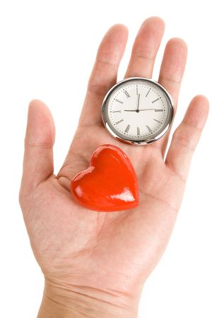 Clock and Red Heart, Concept of time and love Stock Photo - 5774368
