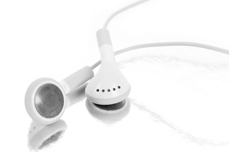 digital music: white Headphones, concept of digital music Stock Photo