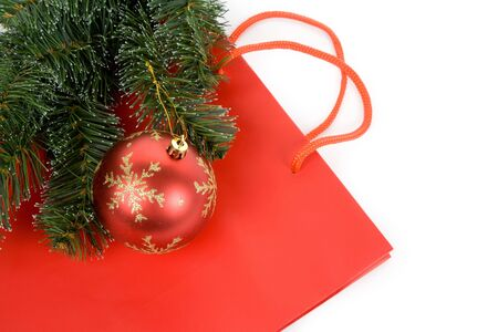 Red Shopping Bag, concept of christmas shopping Banco de Imagens