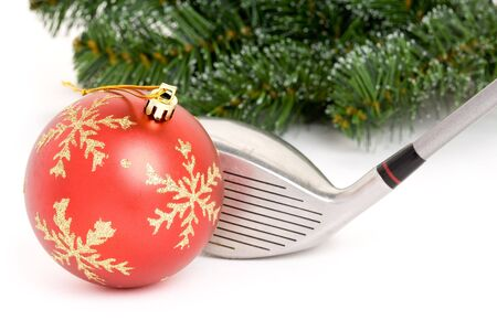 holidays:  golf club and Christmas Ball close up