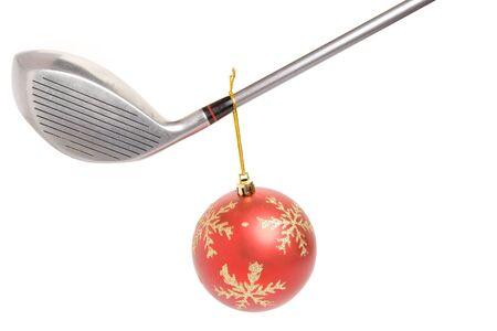 golf club and Christmas Ball close up photo