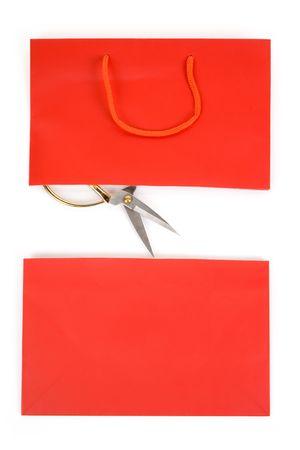 Shopping Bag and scissor, concept of consumer confidence fall