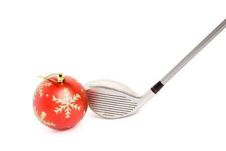 christmas golf:  golf club and Christmas Ball close up