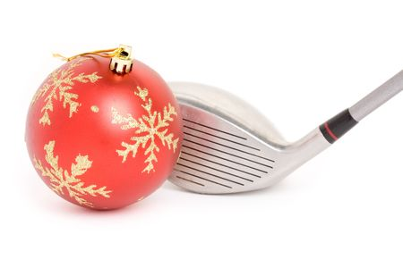 kerstbal rood:  Golf club en Kerstmis bal close-up