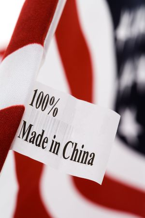 made: USA flag, made in china Stock Photo