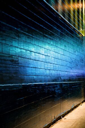 reflect: Blue light reflect on Brick Wall for background