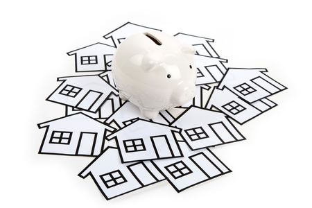 home sign and piggy bank , Real Estate Concept Stock Photo - 6572332