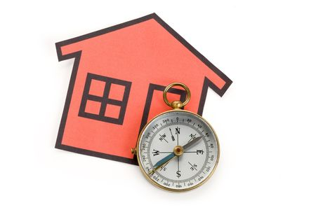 home sign and compass, Real Estate Concept  photo