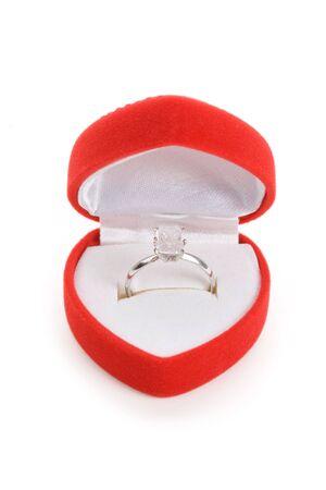 shaped: Red Heart Shaped Jewel Box and diamond Ring Stock Photo